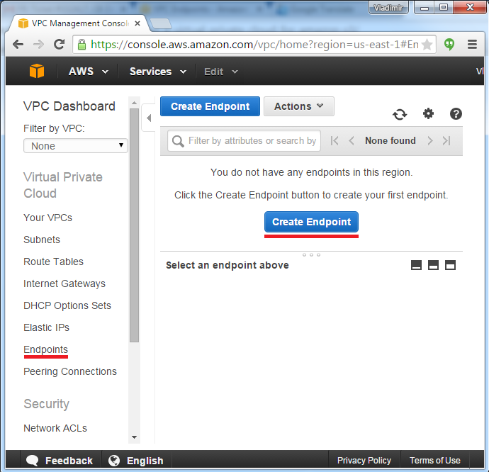 AWS Console. Creating S3 Endpoint