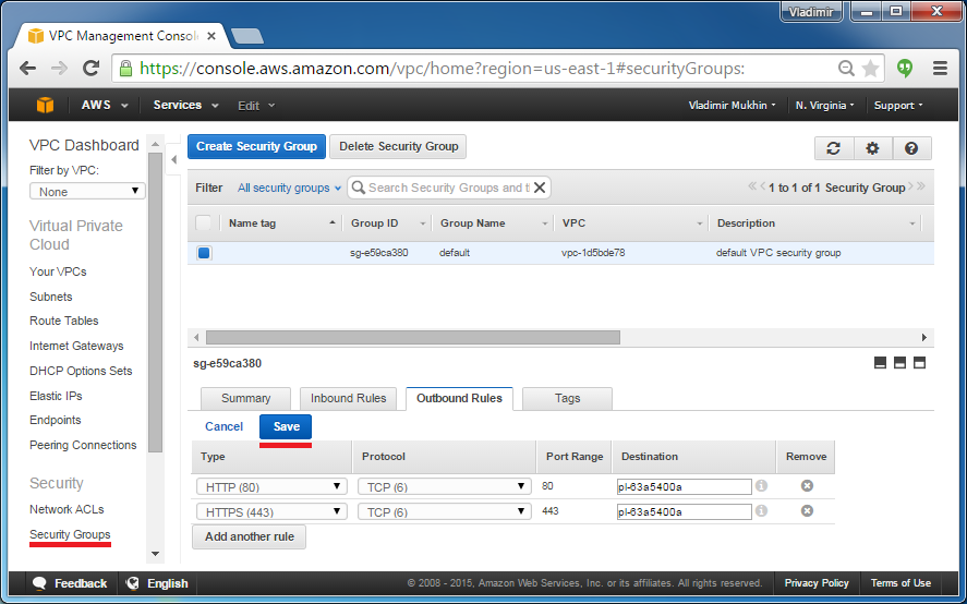 S3 Endpoint Configuring Security Groups