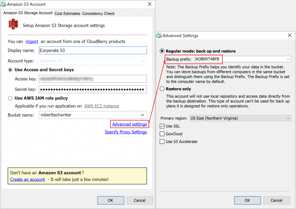 Specifying backup prefix in Advanced settings for Amazon S3 in CloudBerry Backup