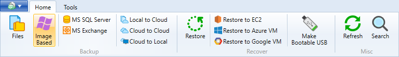 Click Image-based backup button on CloudBerry Backup toolbar