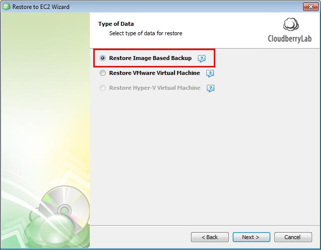Select Restore Image Based Backup
