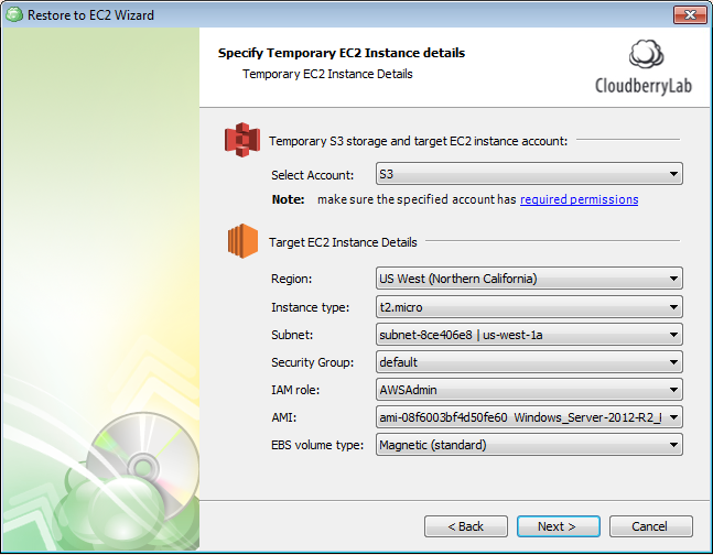 temporary EC2 instance details