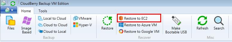 Restore to EC2 option