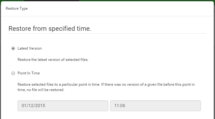 Point in time restore