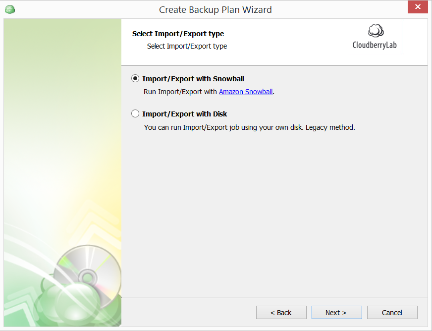 Import/Export with Snowball