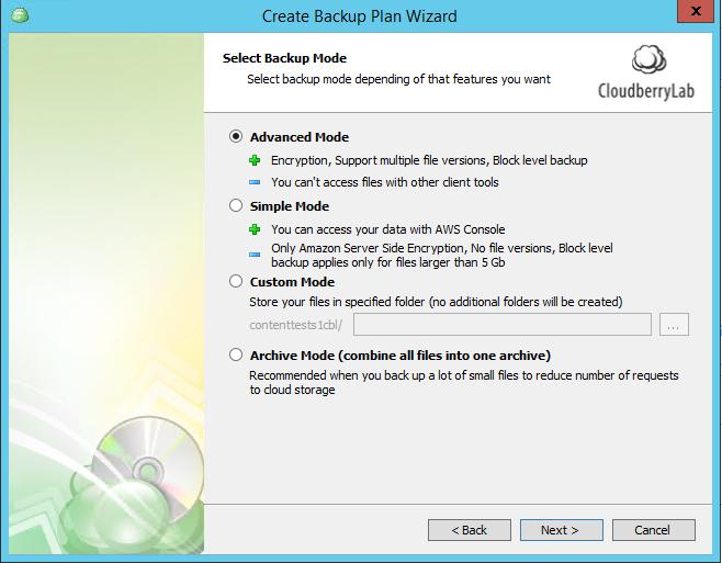 Backup retention advanced settings