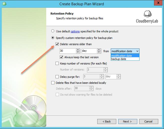 CloudBerry Backup Delete Files