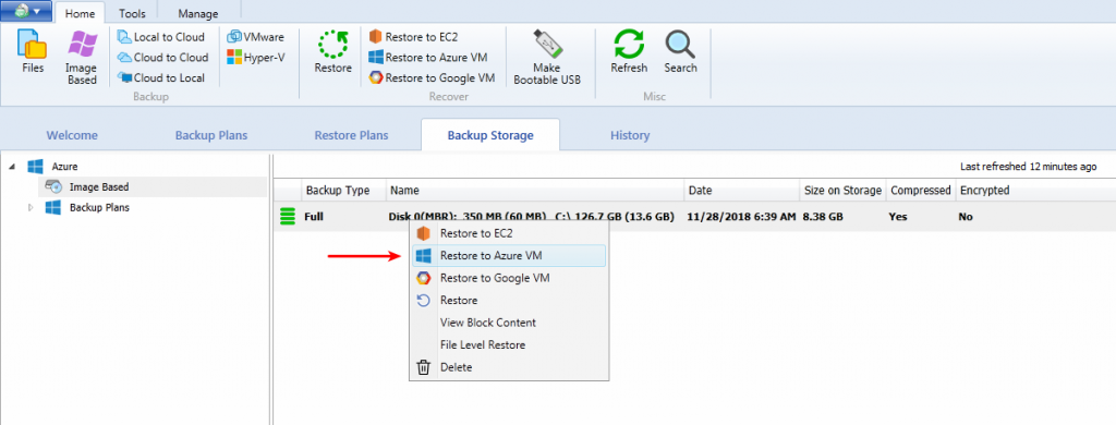 How to Restore to Azure VM with CloudBerry Backup