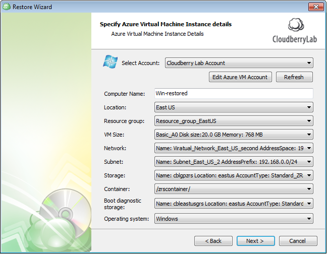 Azure Virtual Machine Instance details