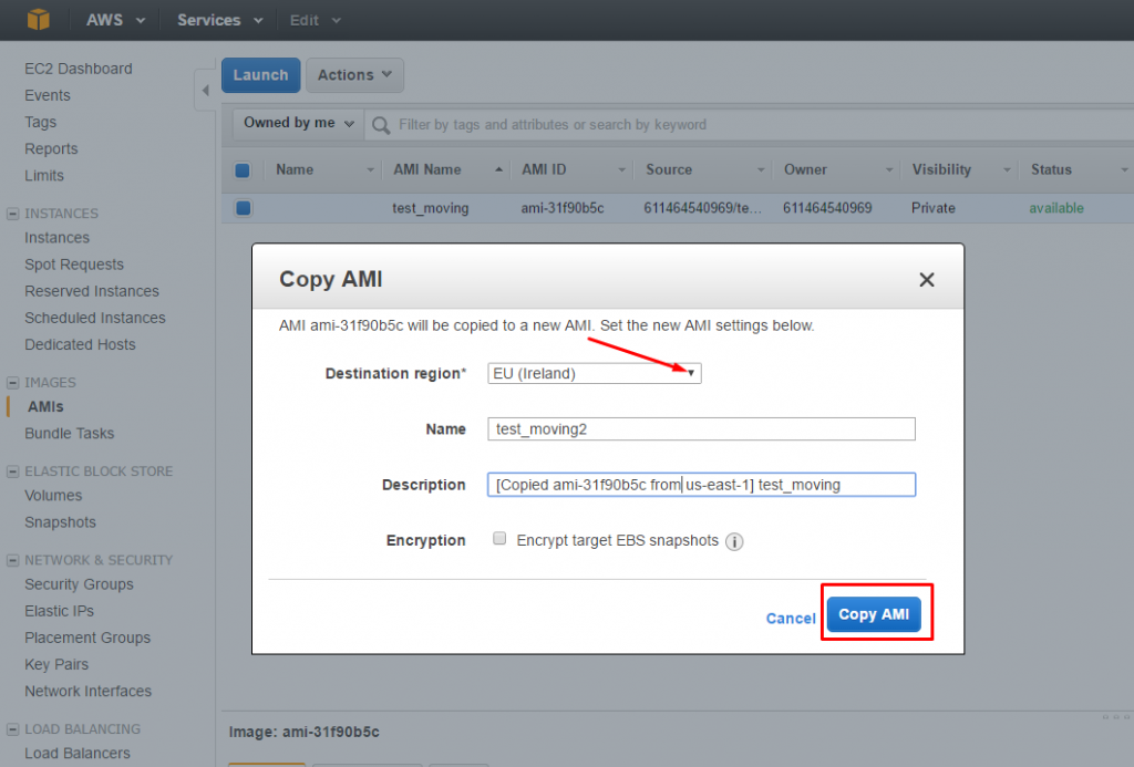 AWS: change Region, Availability Zone or VPC - New AMI settings