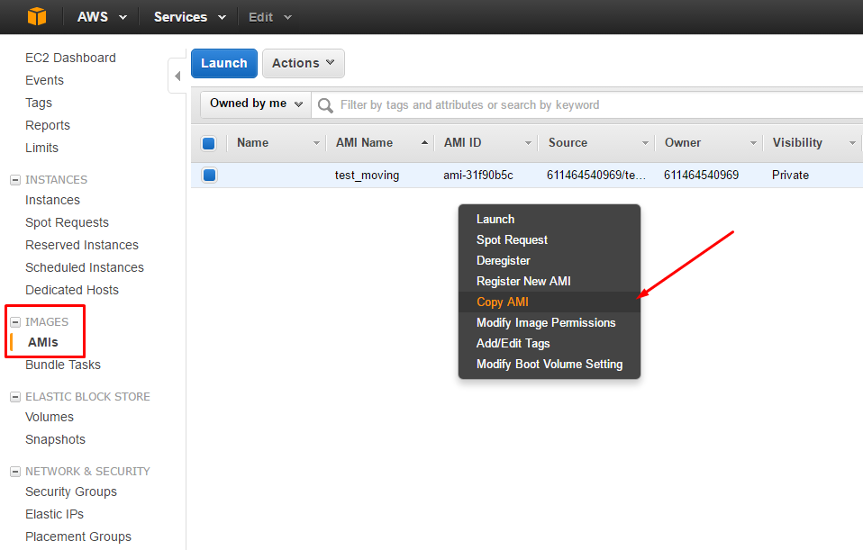 AWS: change Region, Availability Zone or VPC - Copying AMI