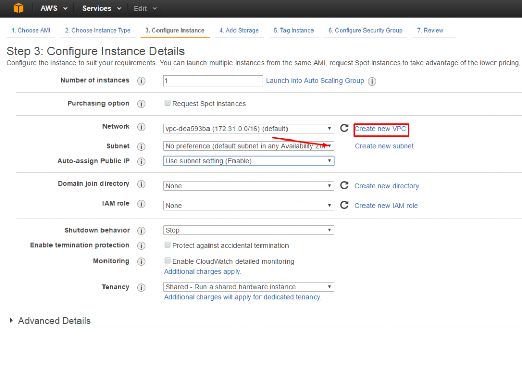 AWS: change Region, Availability Zone or VPC - Creating new VPC and subnet