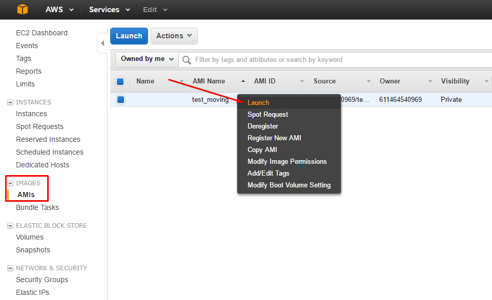 AWS: change Region, Availability Zone or VPC - Launching new EC2 instance from AMI