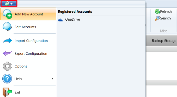 Adding new cloud drive account. Cloudberry Backup.