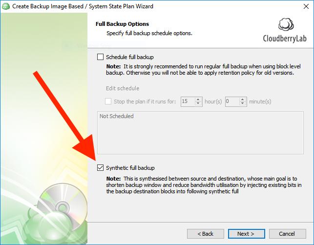 Enabling Synthetic full backup option