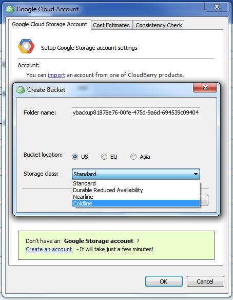 Google Coldline in CloudBerry Backup