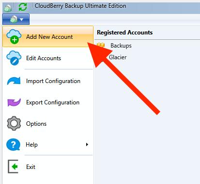 CloudBerry Backup menu - Add New Account