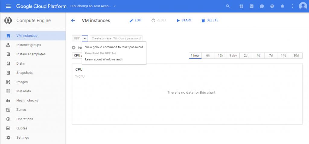 Google Cloud Platform panel - Download the RDP file