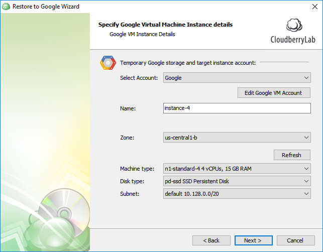 CloudBerry Backup - Specify the Google VM Instance details and click Next