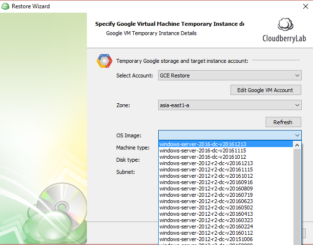 CloudBerry Backup - Specify Google VM temporary instance details