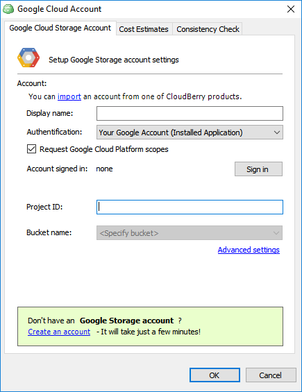 Google Cloud Account settings in CloudBerry Backup