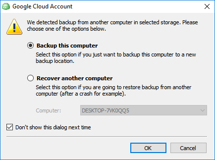 Pop-up alert asking if you want to recover another computer or back up this computer. Select Backup this computer.
