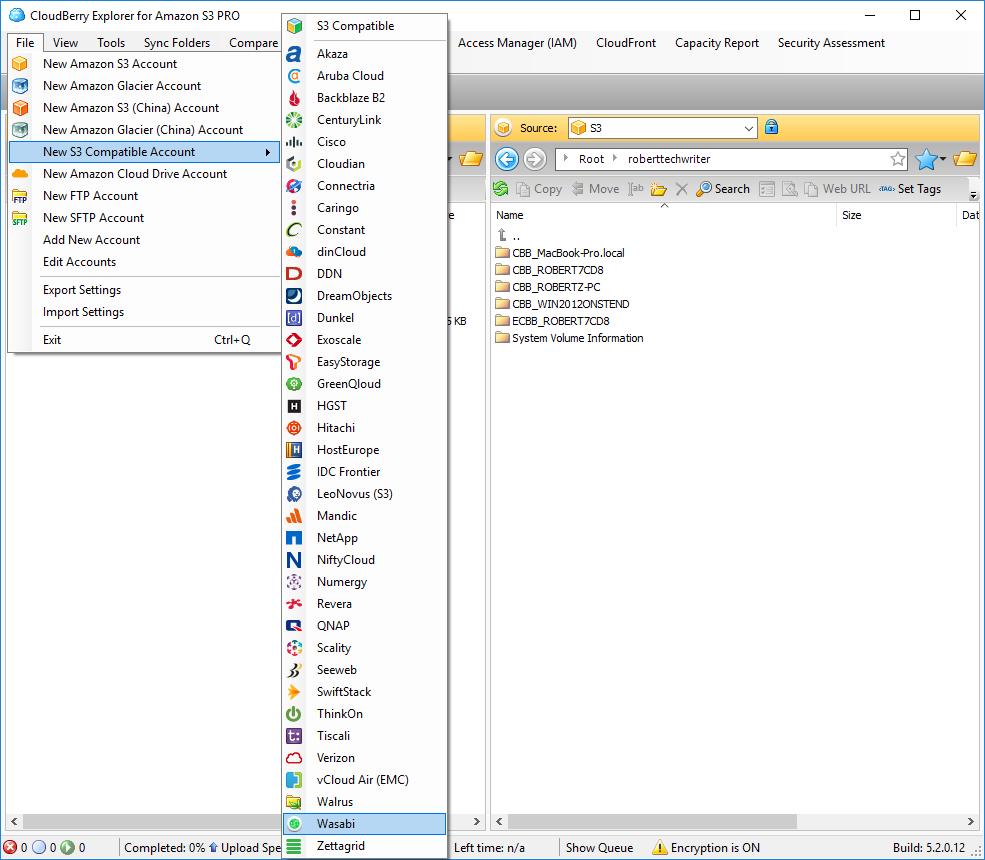 Wasabi in MSP360 Explorer