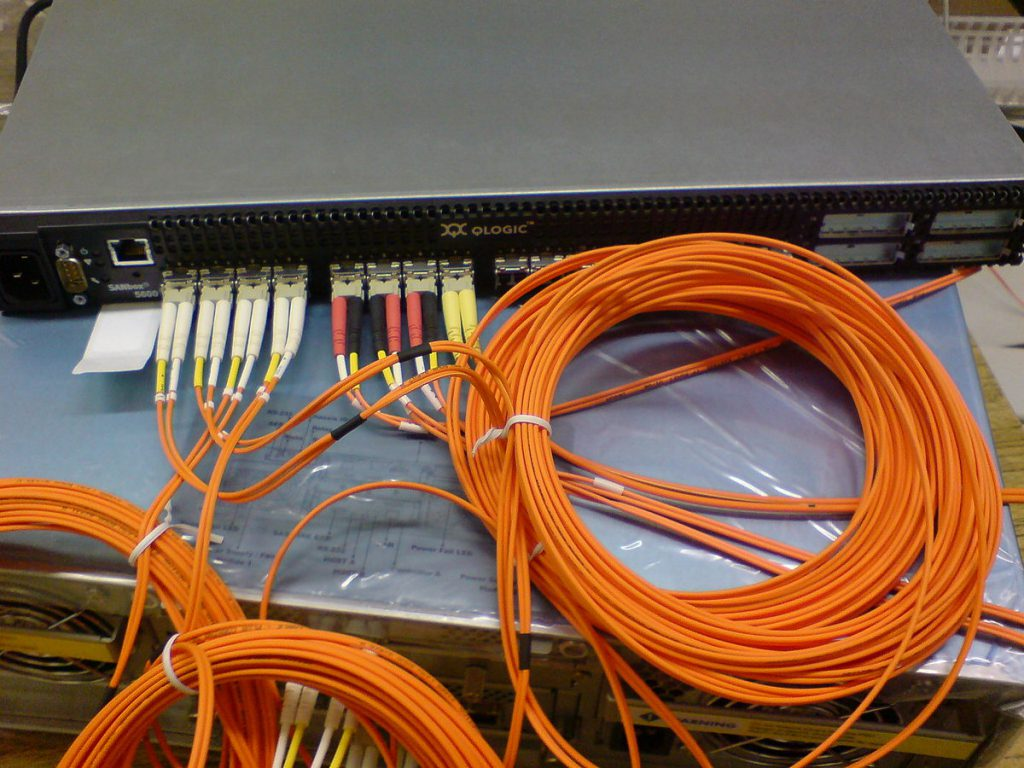 SAN switch with optical Fibre Channel connectors