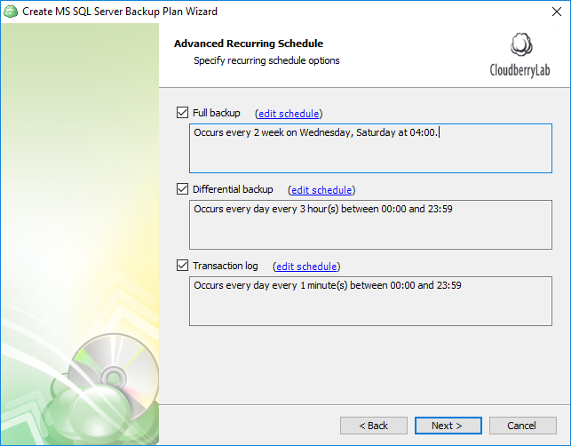 Advanced Scheduling of SQL Server database backups part 2