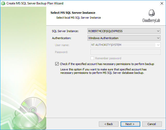Selecting SQL Server instance for SQL Server database backup