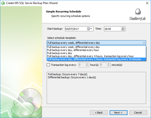 Scheduling of SQL Server database backups: predefined options