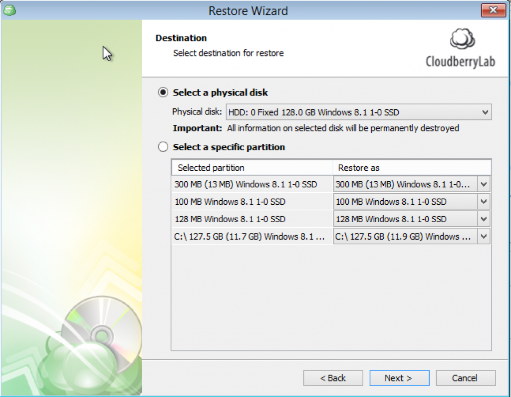 Select to which physical disk server image will be restored to