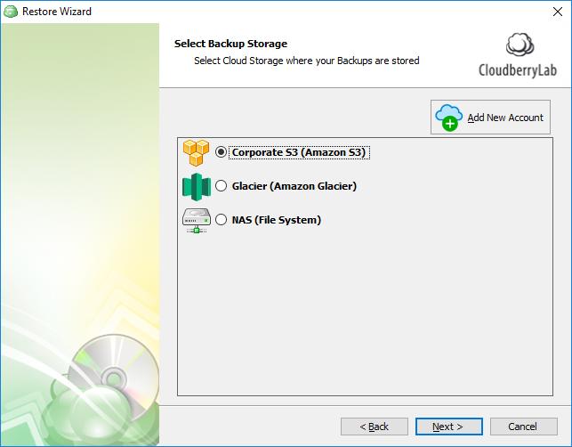 Select backup storage