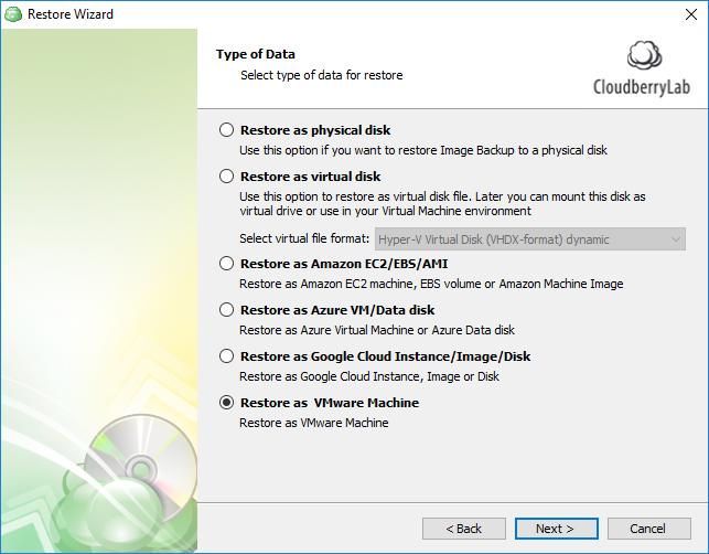 Restore as VMware Machine