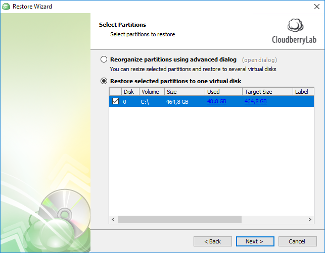 specify the required partition