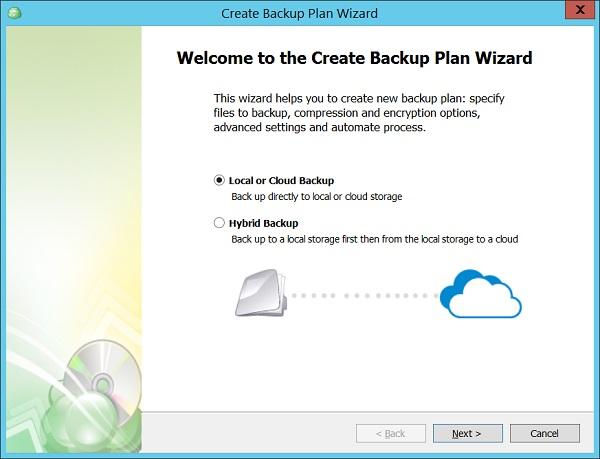 Selecting backup mode
