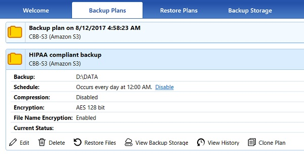 Review the hipaa compliant backup plan