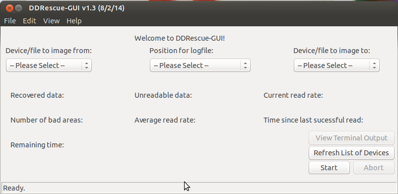 Ddrescue free open source data recovery software - GUI