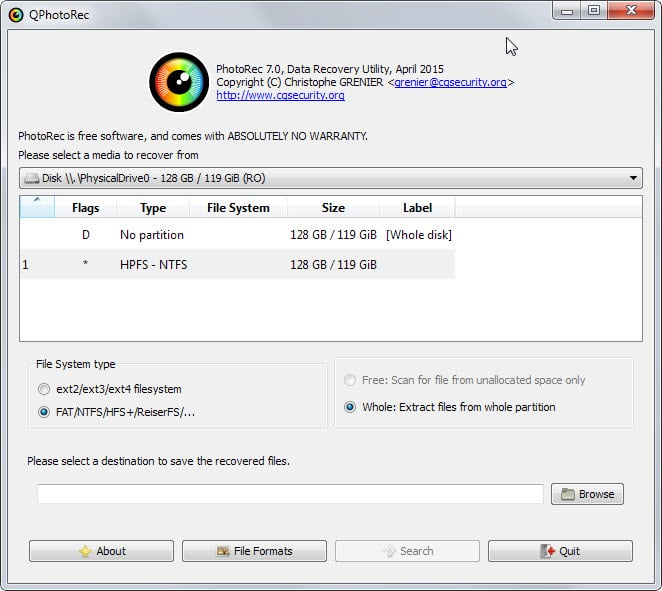 Photorec free data recovery software for Windows, Linux and macOS - GUI