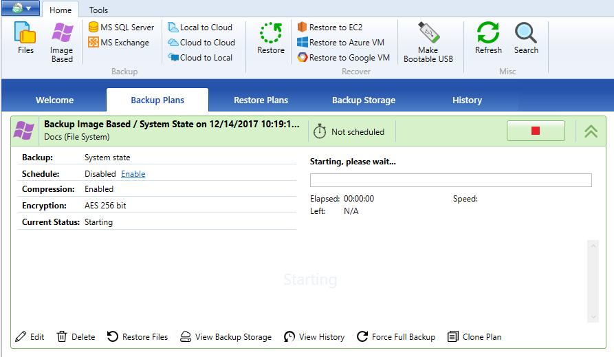 Executing System state backup plan
