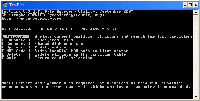 Testdisk free open source data recovery software Windows, Linux and macOS - GUI