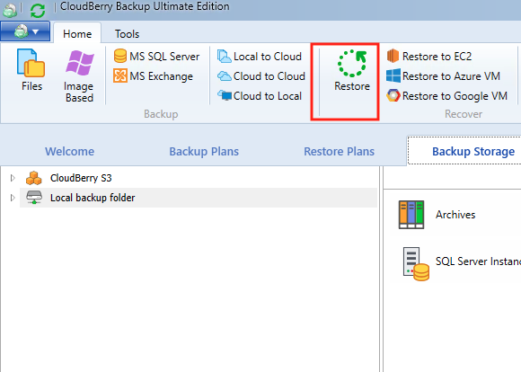 restoring from windows 10 cloud backup step 1