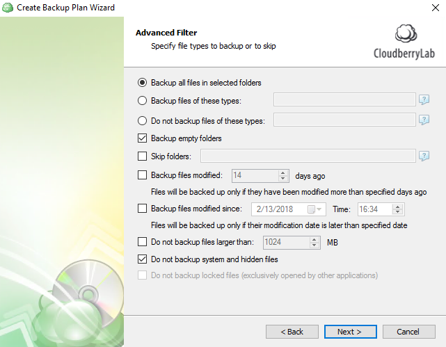 windows 10 cloud backup: advanced filter
