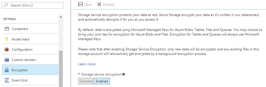 Server side encryption options in Microsoft Azure