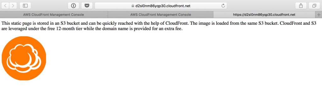 CloudFront sample page