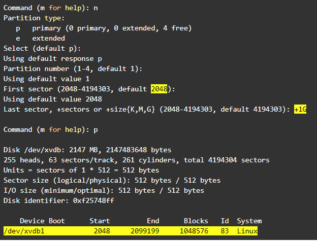"""Resize Linux partition: type """"n"""" to create the new partition"""