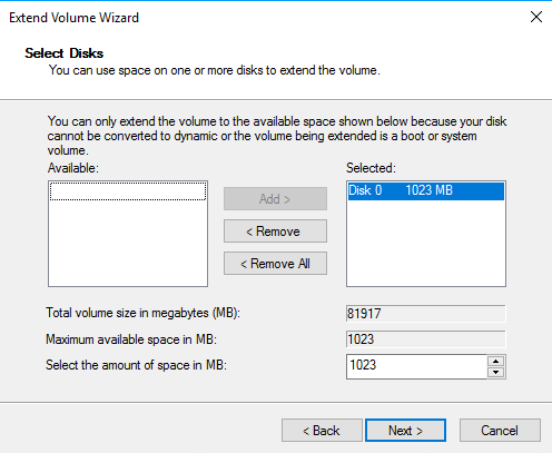 Extending Windows partition: Extend Volume Wizard