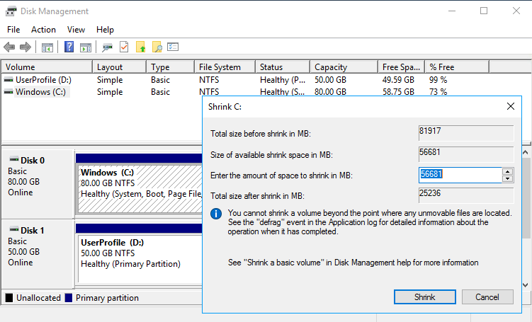 Resize Windows partition - Shrink
