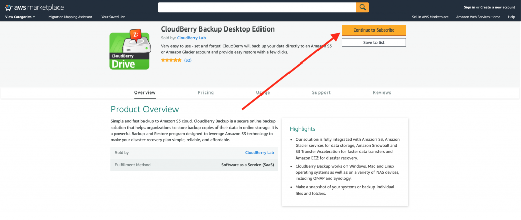 Purchasing CloudBerry Backup on the AWS Marketplace