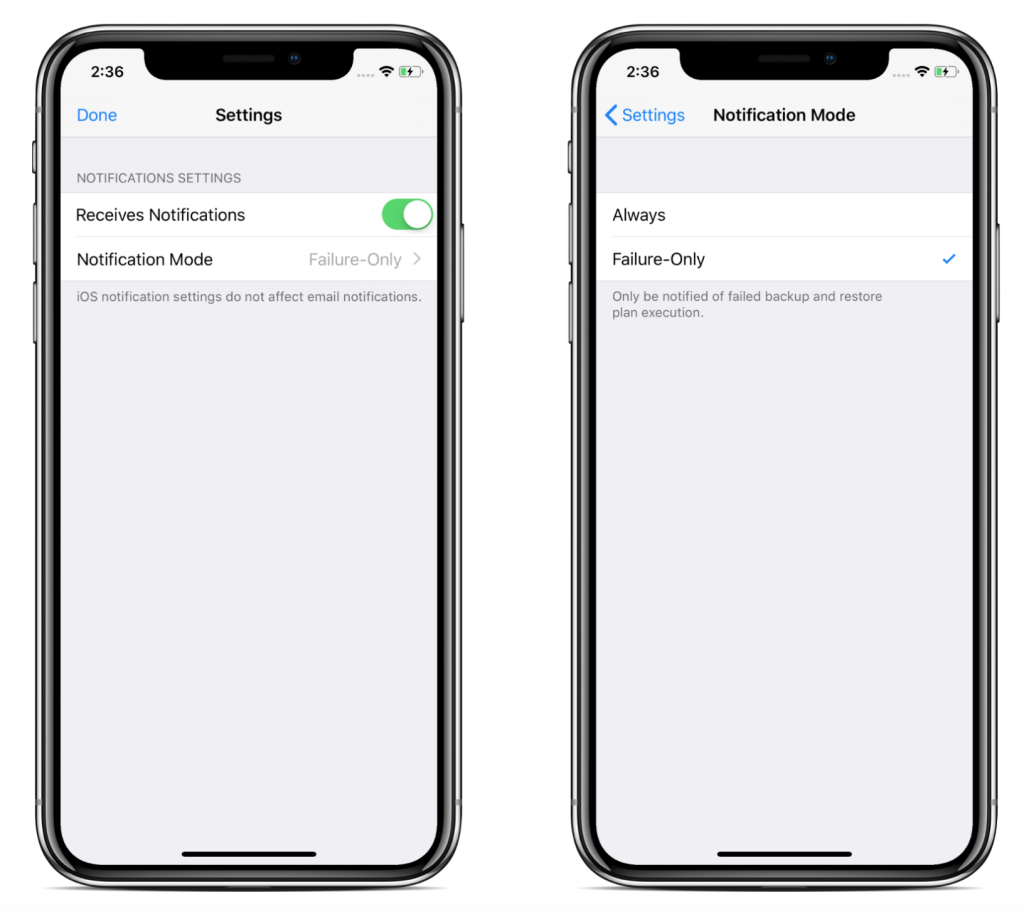 Notifications settings in CloudBerry Backup Admin for iOS